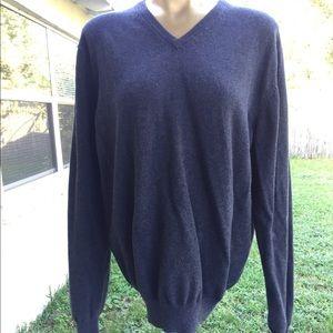 Alan Flusser Cotton Cashmere V-Neck Sweater Large